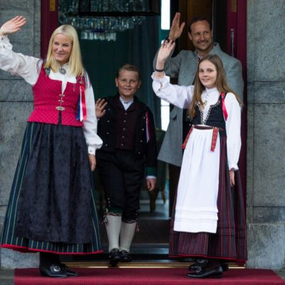 Princess Mette Marit In Traditional Dress For The King and Queen of Norway's 80th birthday Celebration